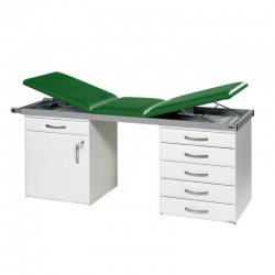 Sunflower Medical Green Three-Section Specialist Treatment Couch with Cupboard and Six Drawers