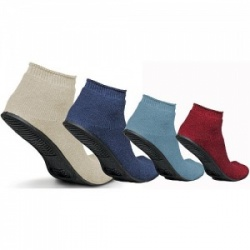 Medline Terry Cloth Sure Grip Rubber Sole Large/Navy Slipper Socks