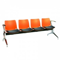 Sunflower Medical Orange Four-Seat Modular Visitor Seating with Black Vinyl Upholstery