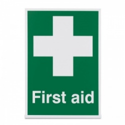 Basic 'First Aid White Cross' Safety Sign