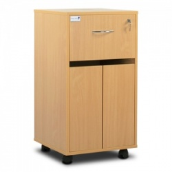 Bristol Maid Beech Bedside Cabinet (Cupboard and Lockable Drawer)