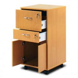Bristol Maid Beech Bedside Cabinet (Cupboard and Two Lockable Drawers)