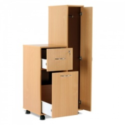 Bristol Maid Beech Compact Bedside Cabinet with Right-Hand Wardrobe (Lower Drawer and Lockable Drawer)