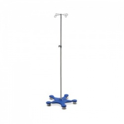 Bristol Maid Two-Hook Easy-Clean IV Stand with Blue Base