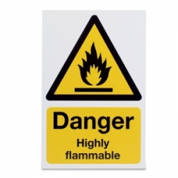 'Danger Highly Flammable' Hazard Sign