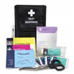 Fast Response One Person First Aid Kit in Black Wallet