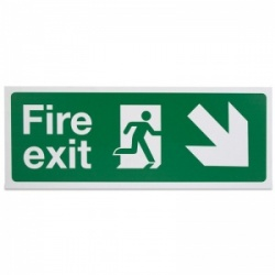'Fire Exit Down Right' Safety Sign