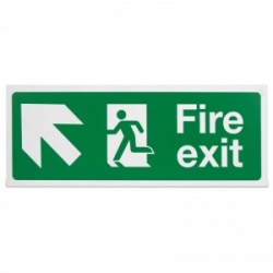 'Fire Exit Up Left' Safety Sign