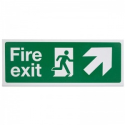 'Fire Exit Up Right' Safety Sign