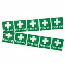 'First Aid White Cross' Stickers (Pack of 10)
