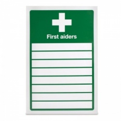 'List of First Aiders' Safety Sign