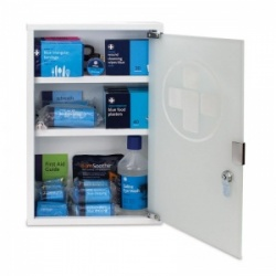 Medium Catering First Aid Kit Plus in Metal Cabinet with Glass Door