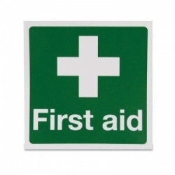 Square 'First Aid White Cross' Vinyl Sign