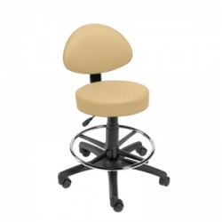 Sunflower Medical Beige Gas-Lift Stool with Back Rest and Foot Ring
