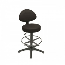 Sunflower Medical Black Gas-Lift Stool with Back Rest, Foot Ring and Glides