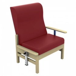 Sunflower Medical Atlas Red Wine High-Back Vinyl Bariatric Patient Armchair with Drop Arms