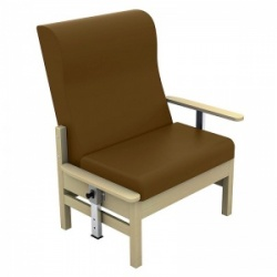 Sunflower Medical Atlas Walnut High-Back Vinyl Bariatric Patient Armchair with Drop Arms