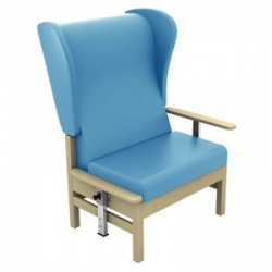Sunflower Medical Atlas Cool Blue High-Back Vinyl Bariatric Patient Armchair with Drop Arms and Wings