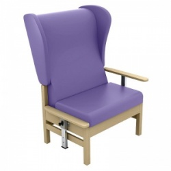 Sunflower Medical Atlas Lilac High-Back Vinyl Bariatric Patient Armchair with Drop Arms and Wings
