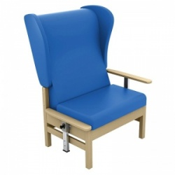 Sunflower Medical Atlas Mid Blue High-Back Vinyl Bariatric Patient Armchair with Drop Arms and Wings