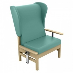 Sunflower Medical Atlas Mint High-Back Vinyl Bariatric Patient Armchair with Drop Arms and Wings