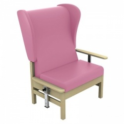 Sunflower Medical Atlas Salmon High-Back Vinyl Bariatric Patient Armchair with Drop Arms and Wings