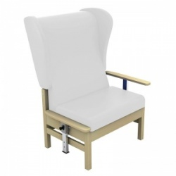 Sunflower Medical Atlas White High-Back Vinyl Bariatric Patient Armchair with Drop Arms and Wings