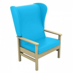 Sunflower Medical Atlas Sky Blue High-Back Intervene Bariatric Patient Armchair with Wings