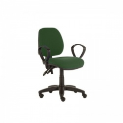 Sunflower Medical Green Mid-Back Twin-Lever Extreme Plus Consultation Chair with Armrests and Black Base