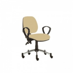 Sunflower Medical Beige Mid-Back Twin-Lever Extreme Plus Consultation Chair with Armrests and Chrome Base