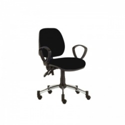 Sunflower Medical Black Mid-Back Twin-Lever Extreme Plus Consultation Chair with Armrests and Chrome Base
