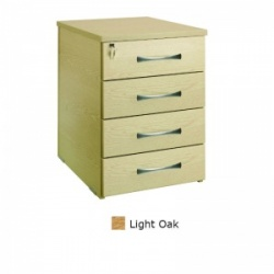 Sunflower Medical Light Oak Four Drawer Desk Height Pedestal (60cm Depth)