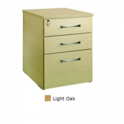 Sunflower Medical Light Oak Three Drawer Desk Height Pedestal (80cm Depth)