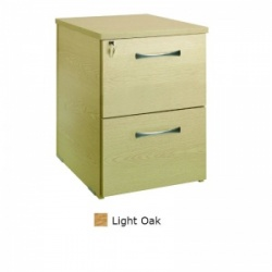 Sunflower Medical Light Oak Two Drawer Desk Height Pedestal (60cm Depth)
