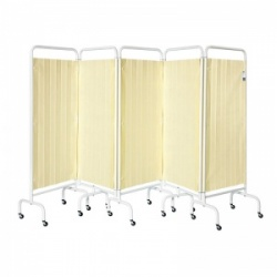 Sunflower Medical Beige Mobile Five-Panel Folding Hospital Ward Curtained Screen