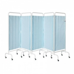Sunflower Medical Pastel Blue Mobile Five-Panel Folding Hospital Ward Curtained Screen