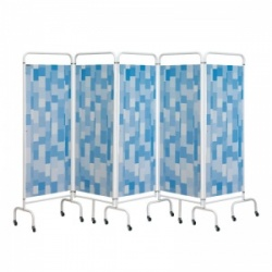 Sunflower Medical Blue Patchwork Mobile Five-Panel Folding Hospital Ward Screen