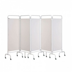 Sunflower Medical White Mobile Five-Panel Folding Hospital Ward Screen