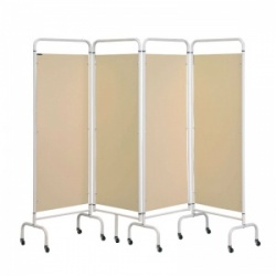 Sunflower Medical Beige Mobile Four-Panel Folding Hospital Ward Screen