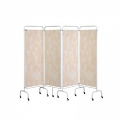 Sunflower Medical Beige Patchwork Mobile Four-Panel Folding Hospital Ward Screen