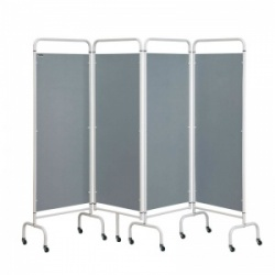 Sunflower Medical Silver Mobile Four-Panel Folding Hospital Ward Screen