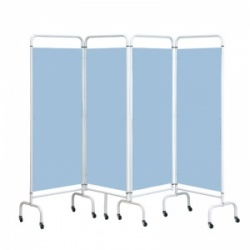 Sunflower Medical Sky Blue Mobile Four-Panel Folding Hospital Ward Screen