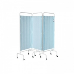 Sunflower Medical Pastel Blue Mobile Three-Panel Folding Hospital Ward Curtained Screen