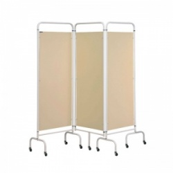 Sunflower Medical Beige Mobile Three-Panel Folding Hospital Ward Screen