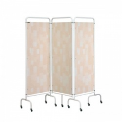 Sunflower Medical Beige Patchwork Mobile Three-Panel Folding Hospital Ward Screen