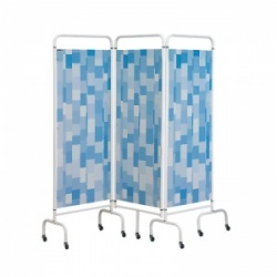 Sunflower Medical Blue Patchwork Mobile Three-Panel Folding Hospital Ward Screen