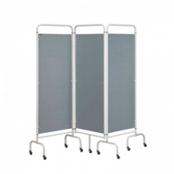 Sunflower Medical Silver Mobile Three-Panel Folding Hospital Ward Screen