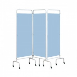 Sunflower Medical Sky Blue Mobile Three-Panel Folding Hospital Ward Screen