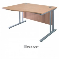 Sunflower Medical Plain Grey 180cm Wide Left Hand Wave Desk