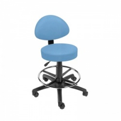 Sunflower Medical Cool Blue Gas-Lift Stool with Back Rest and Foot Ring